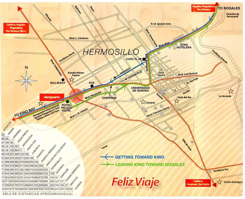 Hermosillo map w-in&out routes