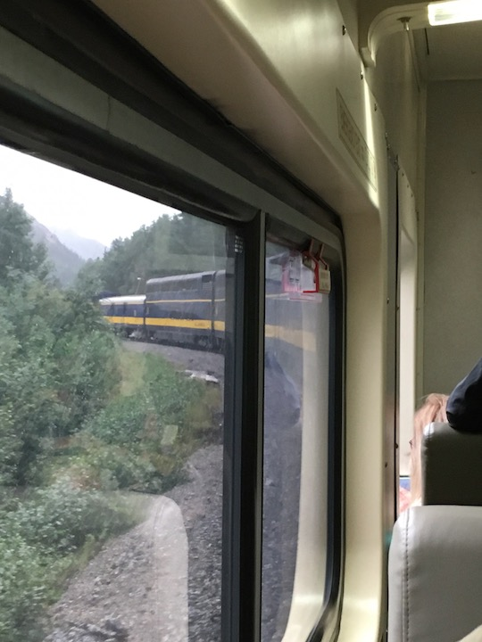 Train around the bend from inside