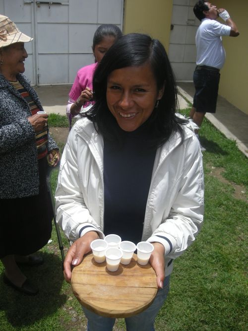 21 Tour guide Sandra serves yogurt samples